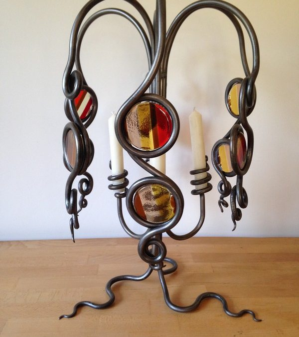 Glass & Iron Candle Holder
