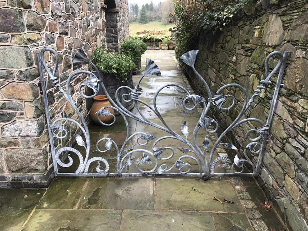 Organic Gate with Side Panels wrought Iron